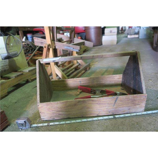 Small Wooden Toolbox With 2 Clamps