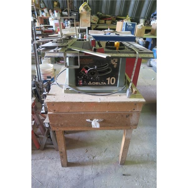 """Delta 10"""" Table Saw On Stand With Extra Blades"""