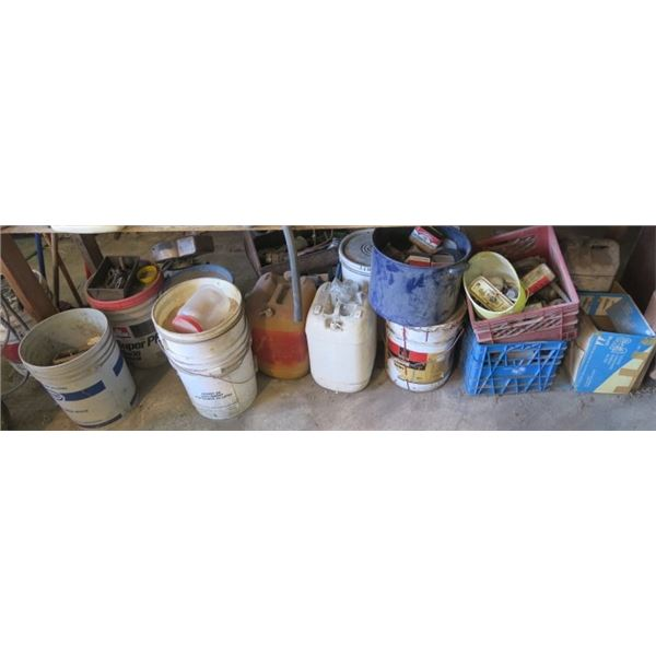 Lot of Misc. Items, Pails, Gas Can, Vintage Tins