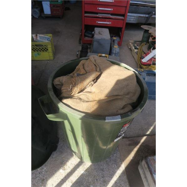 Large Garbage Can Full of Burlap
