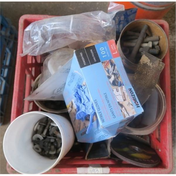 Crate of Misc. Items Including Cut Off Disks