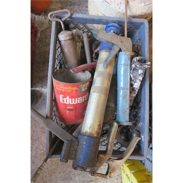 Box of Misc, Items Including Grease and Caulking Guns