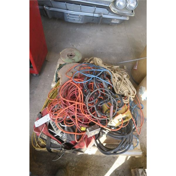 Pallet of Misc. Electrical Extension Cords and Rope