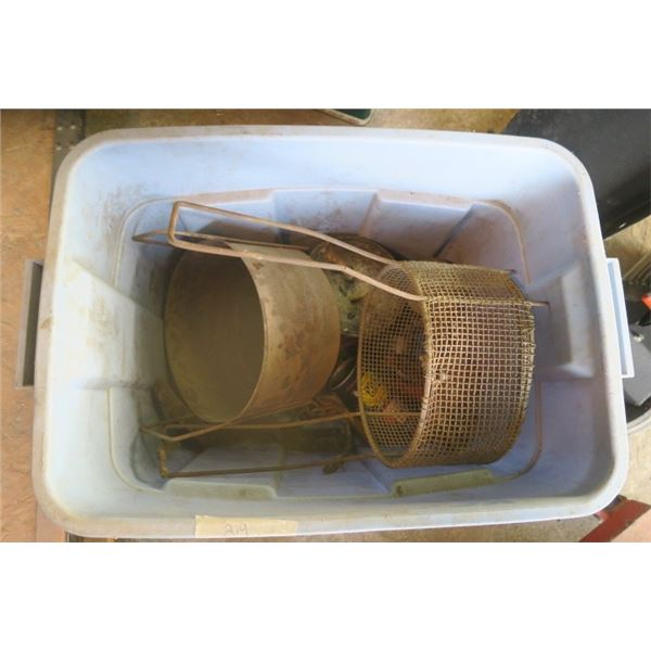 Box with Vintage Baskets and Shop Fluids