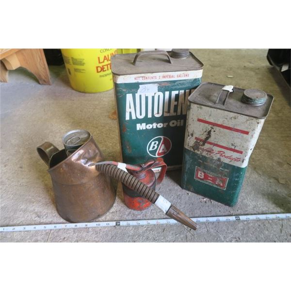 Vintage Oil Set, 2 Vintage Oil Cans, 2 Oilers and Snowmobile Motor Oil