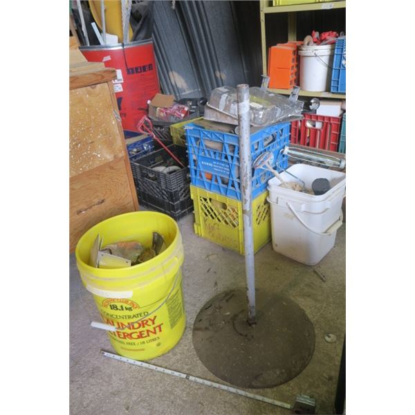 Heavy Bottomed Metal Stand and Bucket of Misc. Items