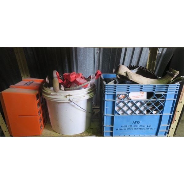 Lot of Misc. Items Including Saw Blades and Shop Organizer