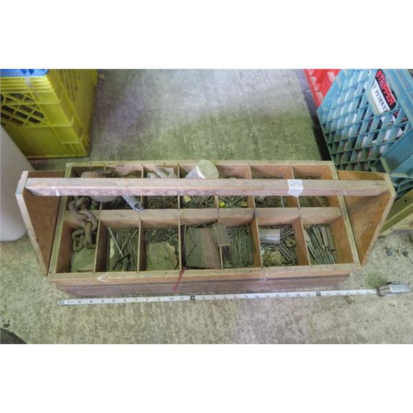 Small Wooden Toolbox with Contents