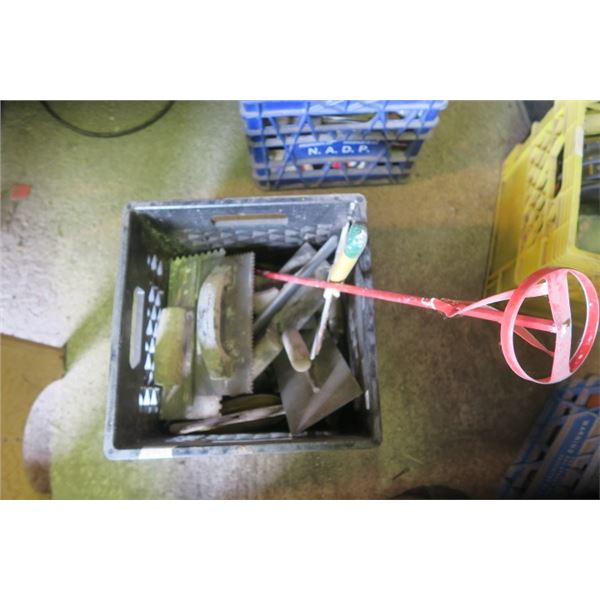 Milk Crate of Misc. Items including Paint Mixer and Trowels