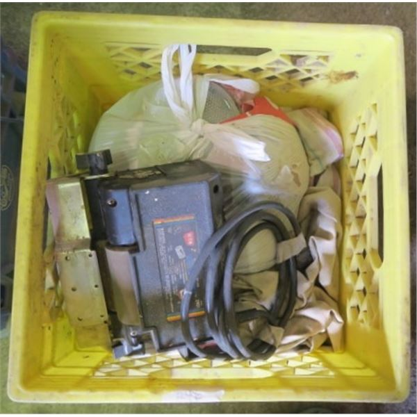 Milk Crate of Misc. Items Including Bag of Flood Lights