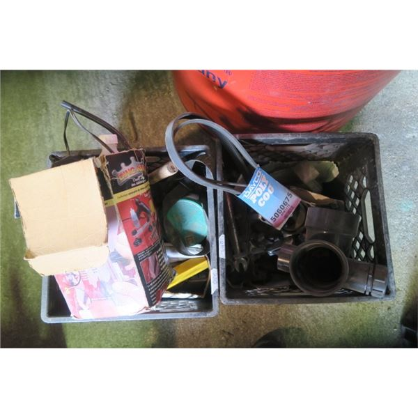 2 Milk Crate of Misc. Items Including Belts