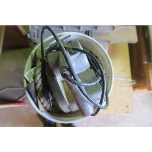 Bucket of Misc. Items including Sanding Belts
