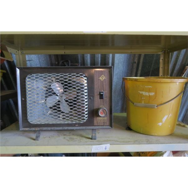 Vintage Space Heater and Bucket of Misc. Lightbulbs and Ratchet Strap