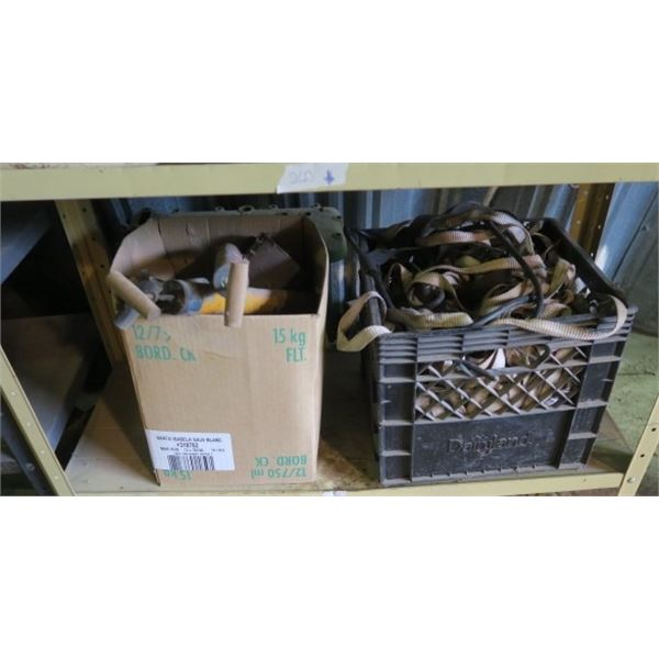 4 Boxes of Misc. Items, Including Straps and Pesticide Applicators