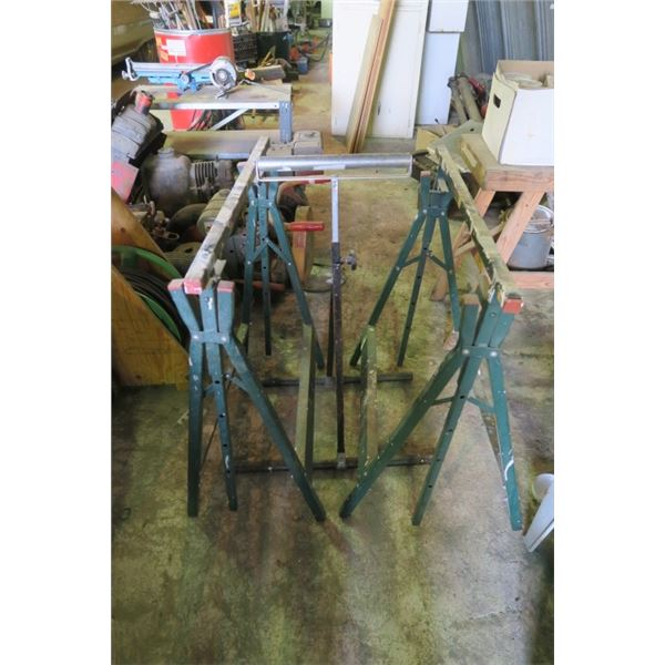 2 Saw Horses and a Roller Stand