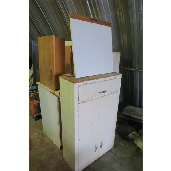 Lot of Vintage Cabinets Great for Tool Storage