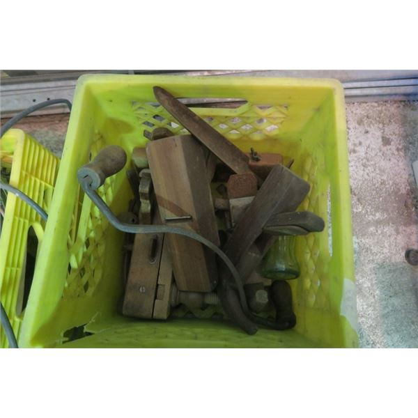 Milk Crate of Misc. Items Including Vintage Planes