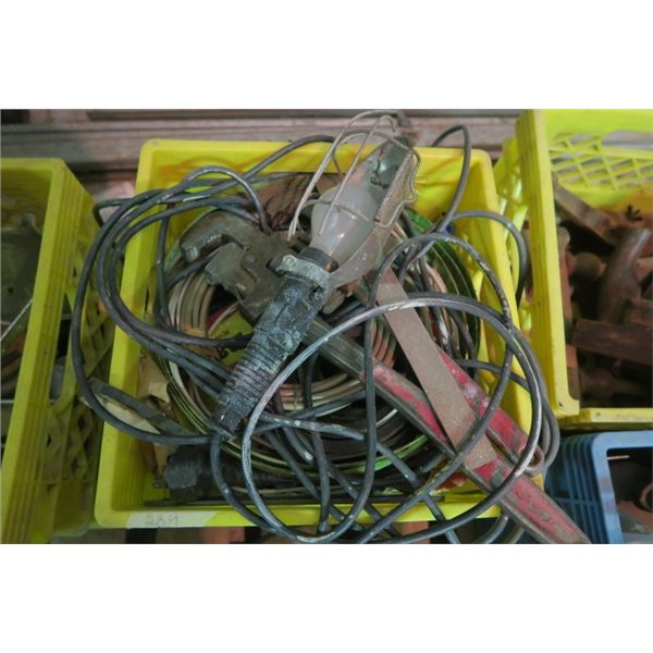 Milk Crate of Misc Items Including Pipe Wrench, Trouble Light, and Electrical
