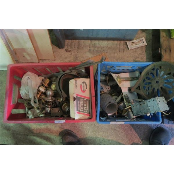 2 Crate of Misc. Items Including Door Knobs and Light Covers