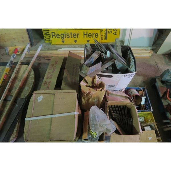 Large Lot of Rafter Hangers, Nails, and other Misc. Items