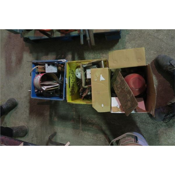3 Boxes of Misc. Items Including Electrical