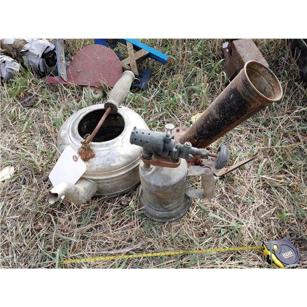 Antique Pot, Torch, and Horn