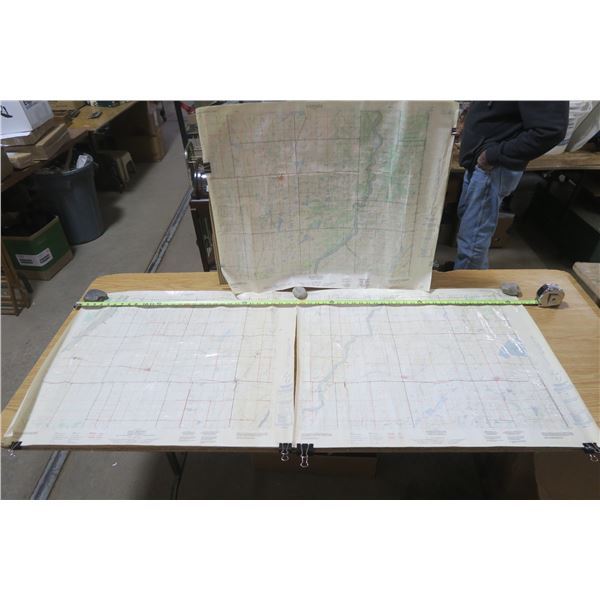 3 Laminated Maps of Rosthern, Aberdeen, and Dalmeny