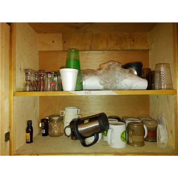Cupboard of Contents Including Shot Glasses and Mugs