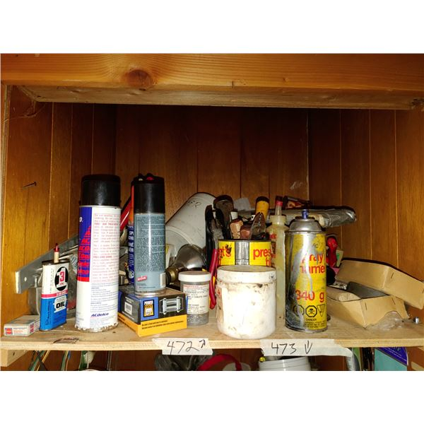 Contents of Shelf, Misc. Oils and Small Toils