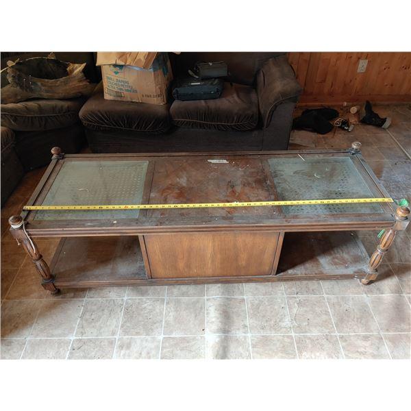 "59"" Glass Top Coffee Table"