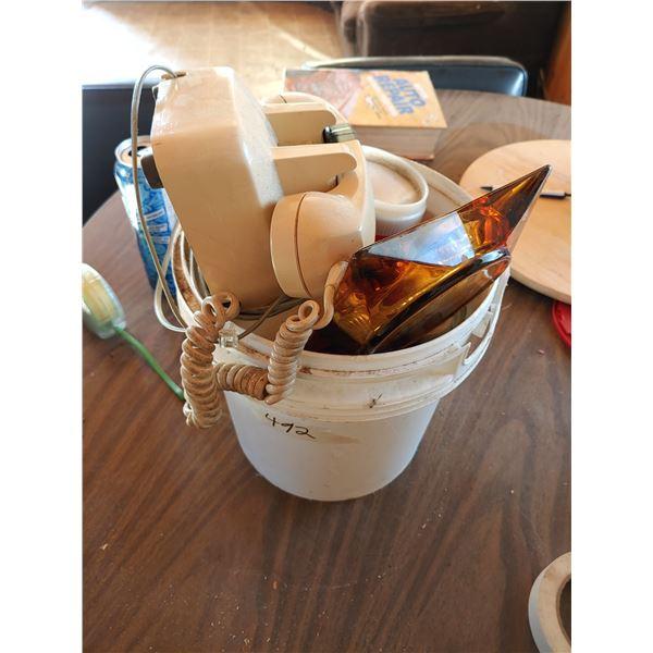 Bucket of Misc. Items Inclduing Phone, Ashtrays and Flashlight