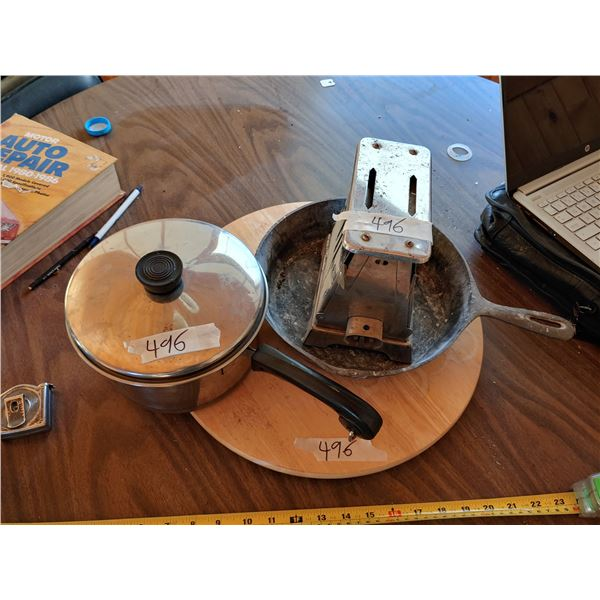 Lot of Misc, Ketchen Items Including Antique Toaster and Lazy Susan