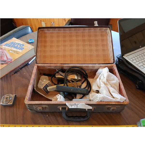 Antique Case and Contents of Barbar Suplies