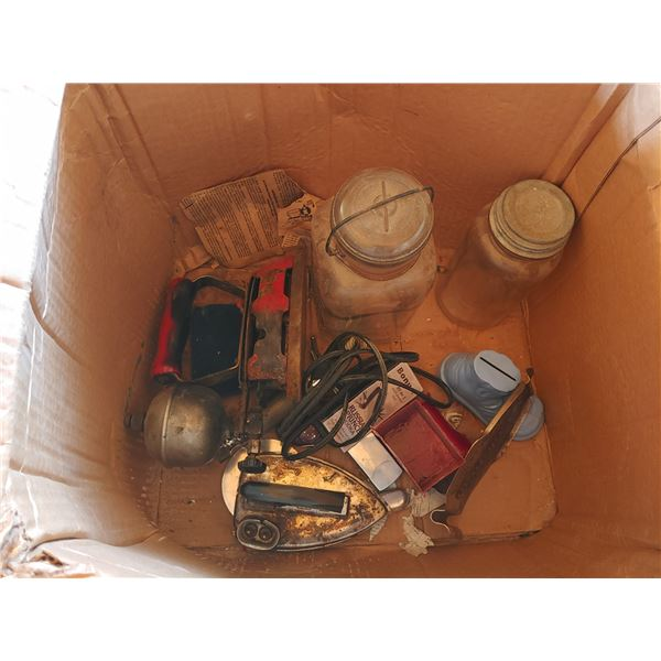 Box of Misc. Items Including Antique Irons