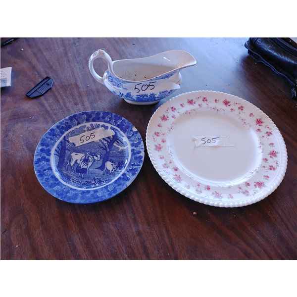 Antique Plates and Gravy Boat