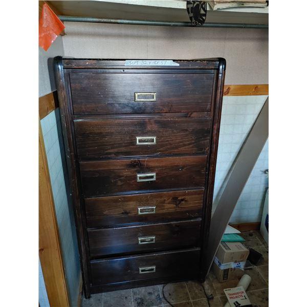 Antique Wood 6 Drawer Dresser 32X18X57