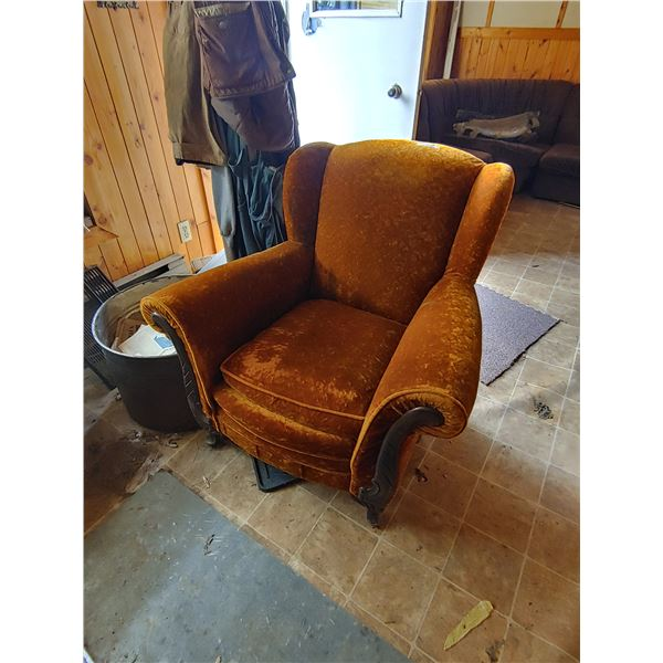 Vintage Chair and Loveseat, Reupholstered and Stuffed with Horse Hair