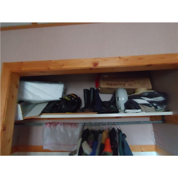 Shelf Contents Including Helmet and Rubber Boots