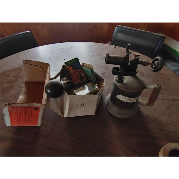 Lot of Misc. Items including Playing Cards and Antique Torch