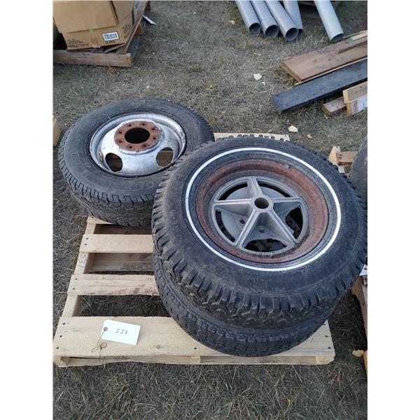 3 assorted Tires on Rims