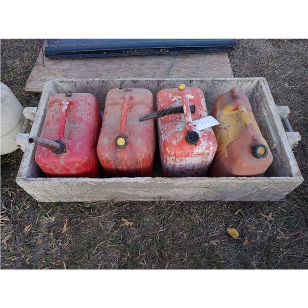 Lot of 4 Gas Cans in Wooden Box