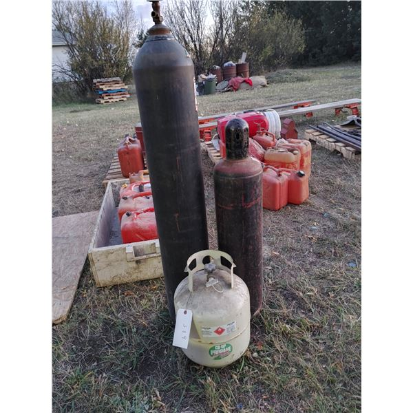 Lot of 2 Oxy Acetylene Tanks and a Propane Tank