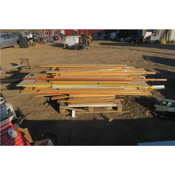 Pallet of Misc. Building Materials Including Plywood and Sheets of Drywall
