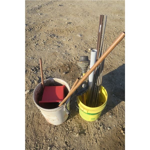 2 Pails of Misc. Items Including Plunger, Copper, Rebar ETC.