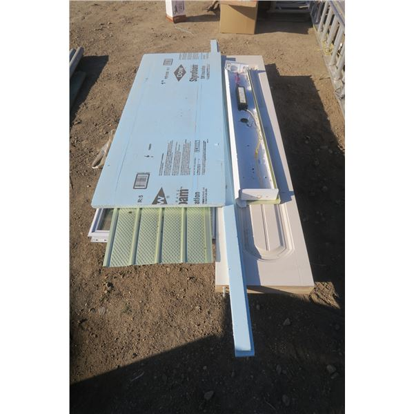 Pallet of Misc. Building Materials Including Folding Closet Door, Styrofoam and Window