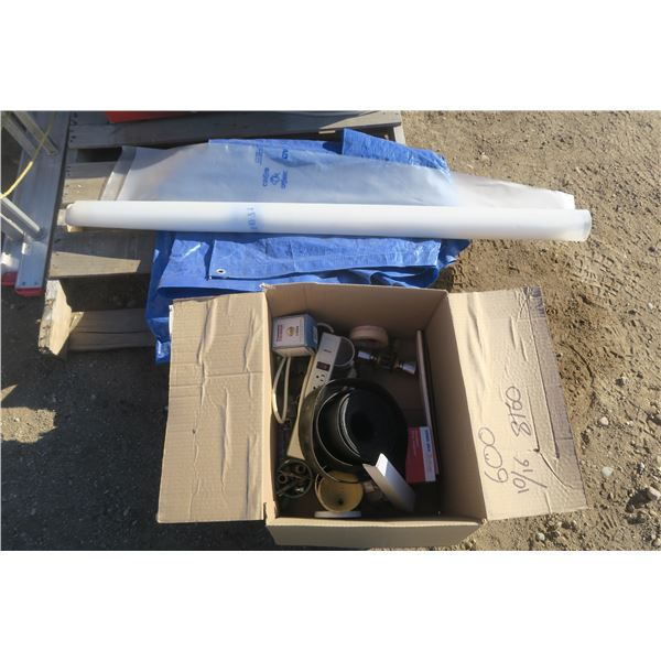 Box of Misc. Items, Small Tarp, and Partial Roll of Poly