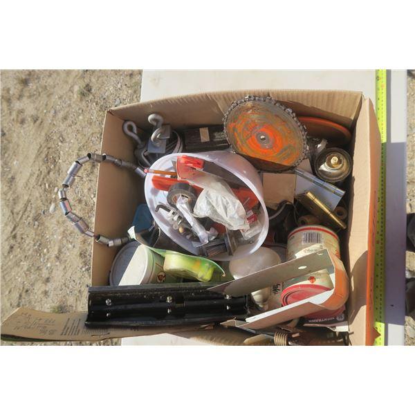 Box of Misc. Hardware, Hinges, Socket Necklace