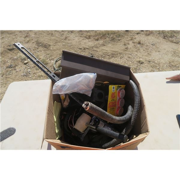 Box of Misc. Including Mailbox, Mallet, and 2 Guage Wire (6ft)