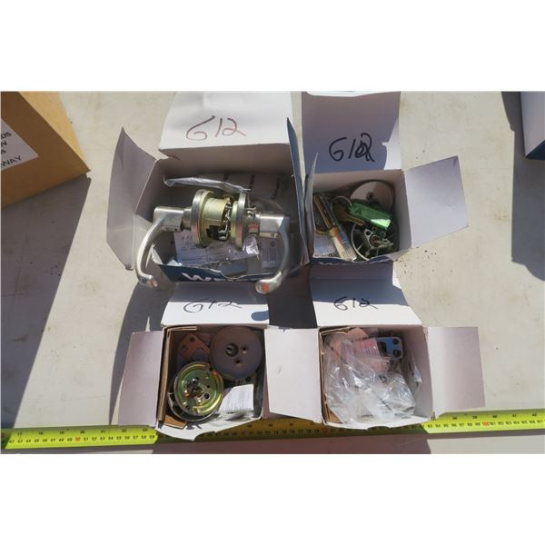 Box of Weiser Knobs and Deadbolts w/ Parts