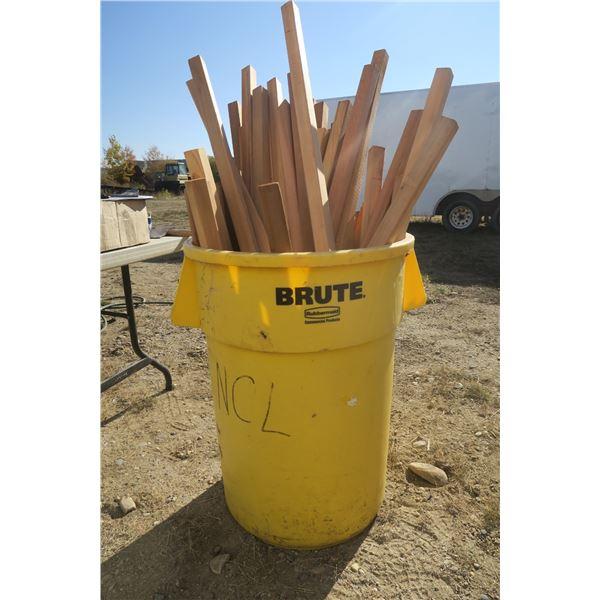 Brute Rubbermade can Full of Cedar 2x2s